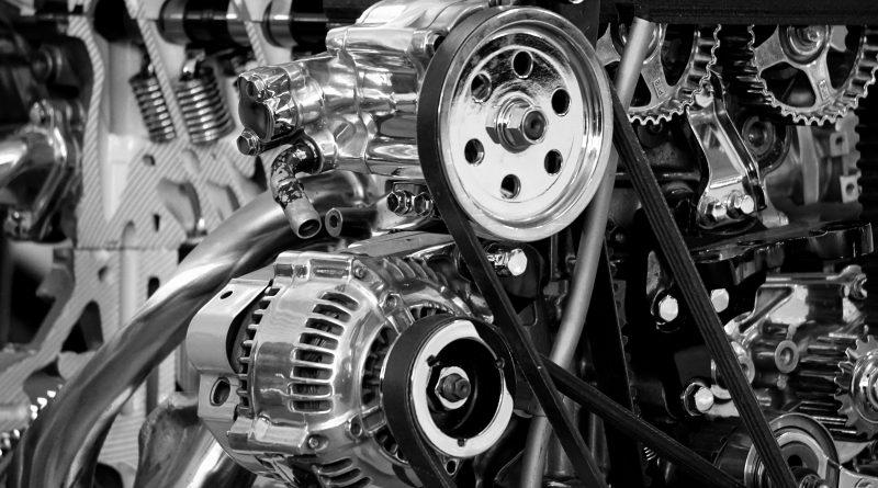 Bilmotor i svart-hvitt